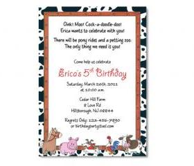 Farm / Petting Zoo Birthday Invitation 