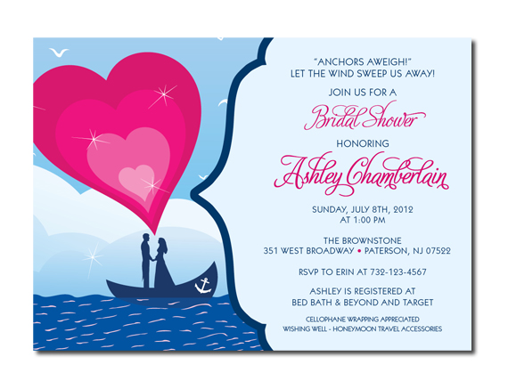 nautical themed custom bridal shower invitation on luulla