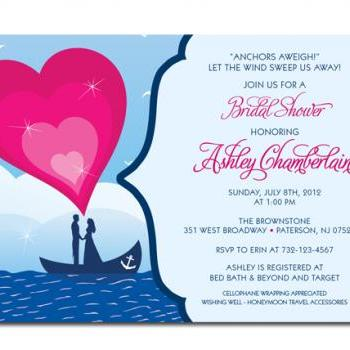 Nautical Themed Custom Bridal Shower Invitation