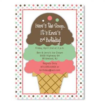 Ice Cream Sundae Birthday Invitation - Custom Colors